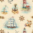 Stock Photo: Nautical watercolor seamless pattern