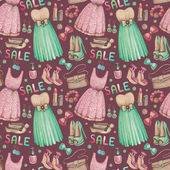 Watercolor seamless pattern with illustrations of dresses and ac — Stock Photo