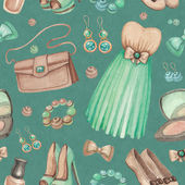 Watercolor illustrations of dresses and accessories. Seamless pa — Stock Photo