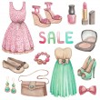 Stock Photo: Fashion collection. Watercolor illustrations