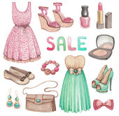 Fashion collection. Watercolor illustrations — Stock Photo