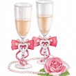 Watercolor iluustration of wedding champagne glasses — Stock Photo #27374289