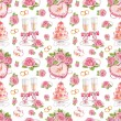 Beautiful seamless pattern with watercolor wedding illustrations — ストック写真