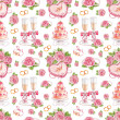 Beautiful seamless pattern with watercolor wedding illustrations — Stockfoto