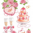 Watercolor wedding illustrations — ストック写真