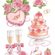 Watercolor wedding illustrations — Stockfoto