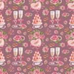 Artistic seamless pattern. Watercolor wedding illustrations — Stock Photo