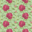 Watercolor illustration of peony flowers. Seamless pattern — Stock fotografie