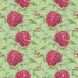 Stock Photo: Watercolor illustration of peony flowers. Seamless pattern