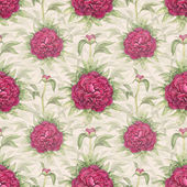 Watercolor illustration of peony flowers. Seamless pattern — Foto de Stock
