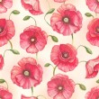 Stock Photo: Watercolor poppy flowers, seamless pattern