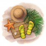 Summerr holiday illustration. Straw hat, flip flops and shells — Stock Photo #30130307