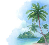 Watercolor background with illustration of the tropical beach — Stock Photo