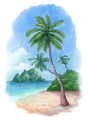 Watercolor illustration of the tropical beach — Stock Photo