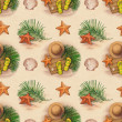 Summer holiday pattern. Straw hat, flip flops, shells and starfish — Stock Photo