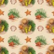 Summer holiday pattern. Straw hat, flip flops, shells and starfish — Stock Photo #30812941