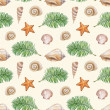 Artistic seamless pattern with watercolor shell, sea star — Stock Photo