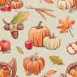 Autumn seamless pattern with harvest illustrations — Stock Photo