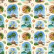 Watercolor seamless pattern with illustrations of a tropical paradise — Stock Photo