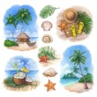 Watercolor illustrations of a tropical paradise — Stock Photo