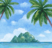 Watercolor illustration of the tropical island — Stock Photo