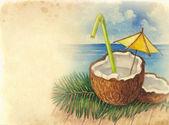 Fondo acuarela con ilustración del cóctel de coco — Foto de Stock