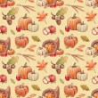 Autumn seamless pattern with harvest illustrations — Stock Photo #30824139