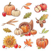 Collection of watercolor autumn illustrations. — Stock Photo