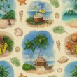 Stock Photo: Watercolor seamless pattern with illustrations of tropical paradise