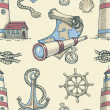 Hand drawn nautical seamless pattern  — Photo