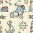 Hand drawn nautical seamless pattern  — ストック写真