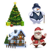 Christmas illustrations collection. Santa Claus, Snowman, Christ — Stock Photo