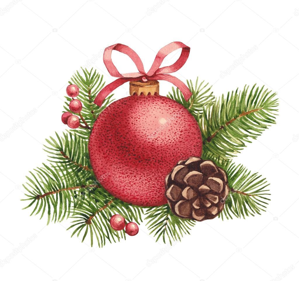Download watercolor christmas illustration christmas ball and pine