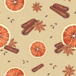 Watercolor seamless pattern. Orange, anise  and cinnamon sticks — Stock Photo