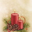 Vintage Christmas card. Watercolor candle and pine with decorati — Stock Photo