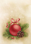 Vintage greeting card. Watercolor Christmas ball and pine with d — Stock Photo