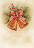 Vintage Christmas card. Watercolor bells and pine with decoratio — Stock Photo