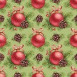 Watercolor Christmas pattern. Christmas ball and pine with decor — Stock Photo