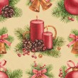 Stock Photo: Vintage Christmas pattern. Watercolor illustrations of Christmas