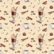Seamless pattern with illustrations of coffee cup and chocolate — Stock Photo