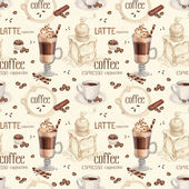 Seamless pattern with illustrations of coffee cup and coffee bea — Stock Photo