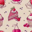Hand drawn pattern with cake illustrations  — Photo
