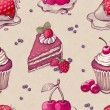 Hand drawn pattern with cake illustrations  — ストック写真