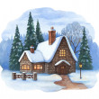 Christmas illustration of winter landscape  — Stock Photo