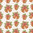 Vintage Christmas pattern. Watercolor bells and pine with decora — Stock Photo #34334911
