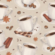 Watercolor illustrations of coffee cup. Seamless pattern — Foto de Stock