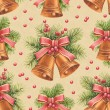 Stock Photo: Vintage Christmas pattern. Watercolor bells and pine with decora