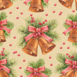 Vintage Christmas pattern. Watercolor bells and pine with decora — Stock Photo