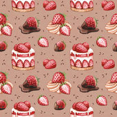 Seamless pattern with strawberry cake illustrations — Stok fotoğraf