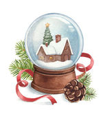 Watercolor illustration of snow globe — Stock Photo